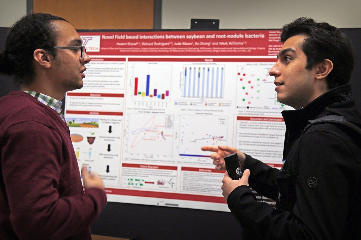Hazem Sharaf (left), a graduate research assistant in the lab of Mark Williams and a PhD candidate in the Genetic, Bioinformatics, Computational Biology program, discusses his research about soybeans and root-nodule bacteria with another colleague. Photo courtesy of Alex Crookshanks.